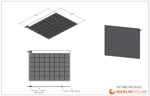 4thD Solar Camp King Industries FX48S 220 Watt Solar Panel- Low Profile Junction, Solar Panel,4thDsolar