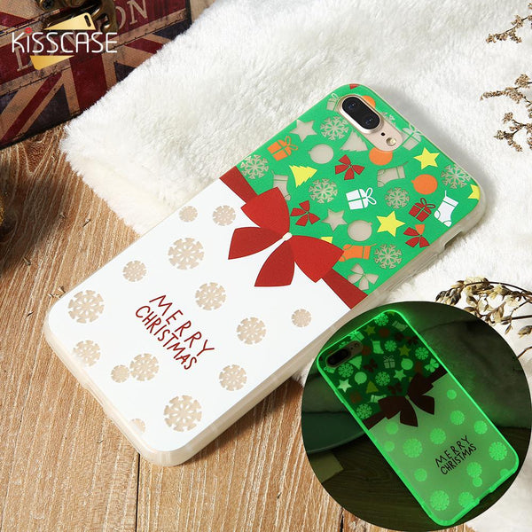 hot sale online 654a1 35046 KISSCASE Luminous Phone Case For iPhone X 8 7 6S 6 Plus Christmas Patterned  Cases For iPhone 6 6S 7 8 Plus X 10 Soft TPU Cover