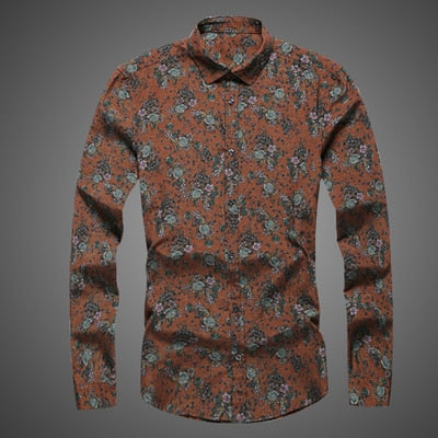 614e8bfdfea1 2019 new fashion flower printed long sleeve shirts male slim flower shirts  vintage Linen Casual Men