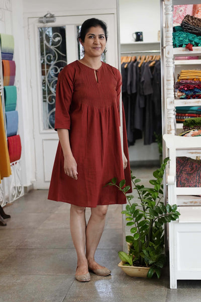 Simran Dress in Rust