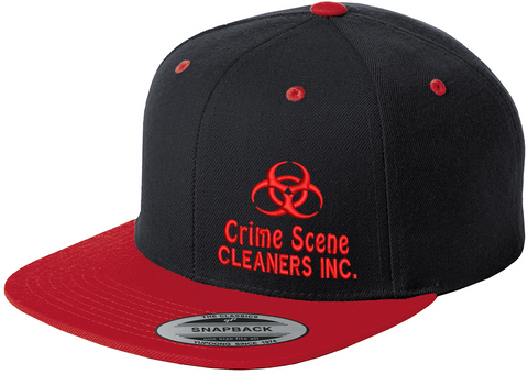 CSC Logo Flatbill Snapback Hat/ Black and Red
