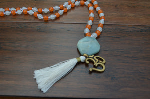 Amazonite Guru bead mixed Mala
