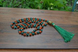 Mala - Rudraksha and Agate Prayer Mala