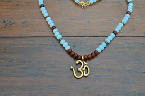 Mala - Wood and Blue - Om