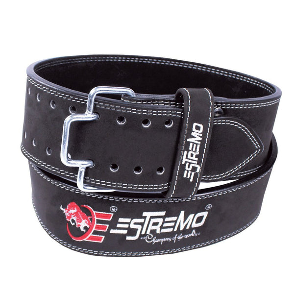 "Genuine Leather Power Lifting Belt 4"" Wide - Black - Estremo Fitness"