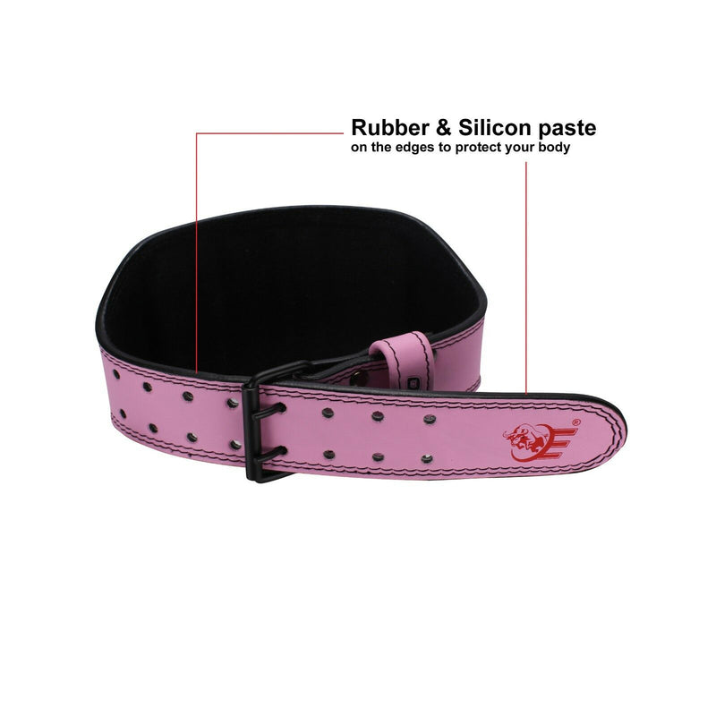 "Genuine Leather Weightlifting Belt 6"" Wide - Pink - Estremo Fitness"