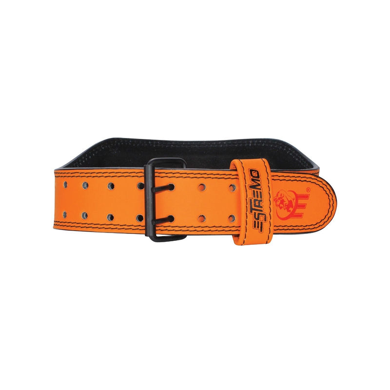"Genuine Leather Weightlifting Belt 6"" Wide - Orange - Estremo Fitness"