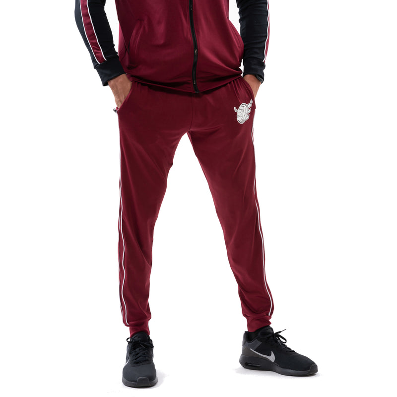 Tracksuit Set-Hooded Slim Jackets & Joggers w / Zippered Pockets - Burgundy - Estremo Fitness
