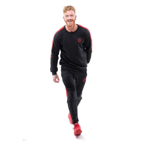 Tracksuit Set: Slim Jacket & Joggers w / Zippered Pockets - Black/Red Stripes - Estremo Fitness