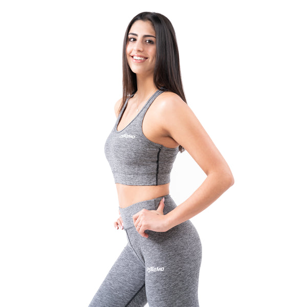 Cotton/Spandex Flex-Blend Sports Bra & Leggings - Grey - Estremo Fitness