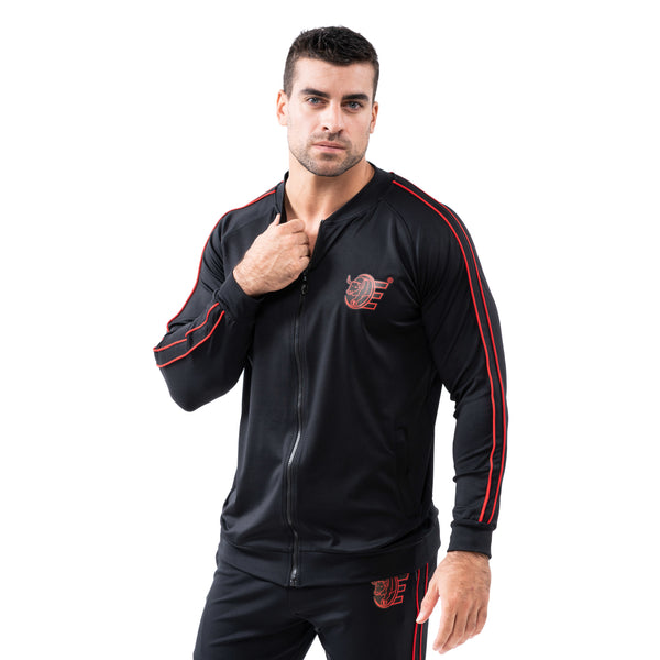 Tracksuit Set-Slim Jackets & Joggers w / Zippered Pockets - Black - Estremo Fitness