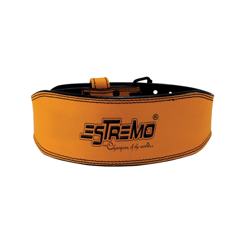 "Genuine Leather Weightlifting Belt 4"" Wide Orange - Estremo Fitness"
