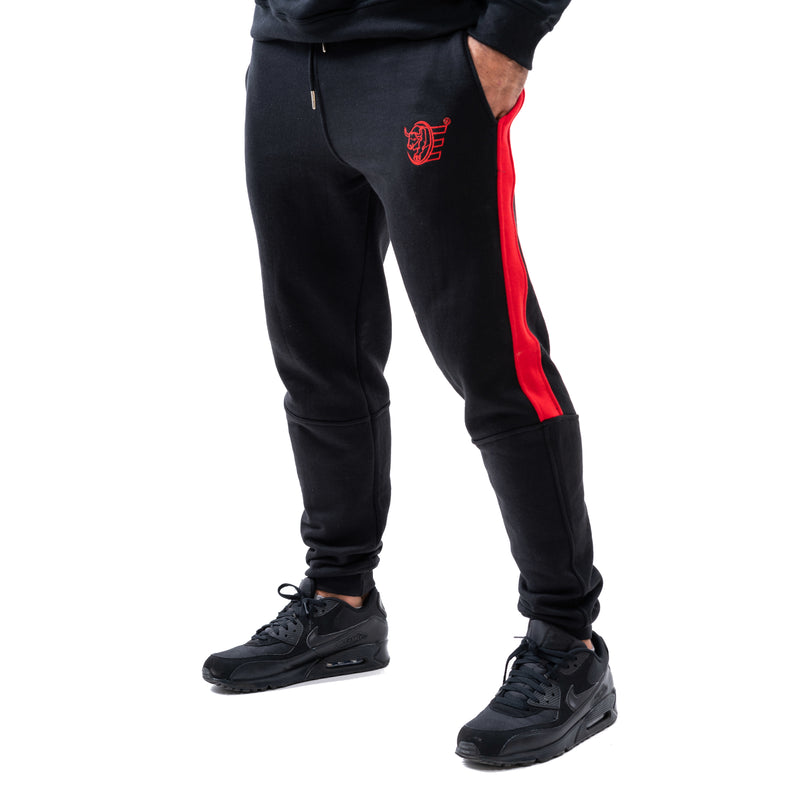 Tracksuit Set: Sweat Shirts & Sweat Pants w / Zippered Pockets - Black - Estremo Fitness
