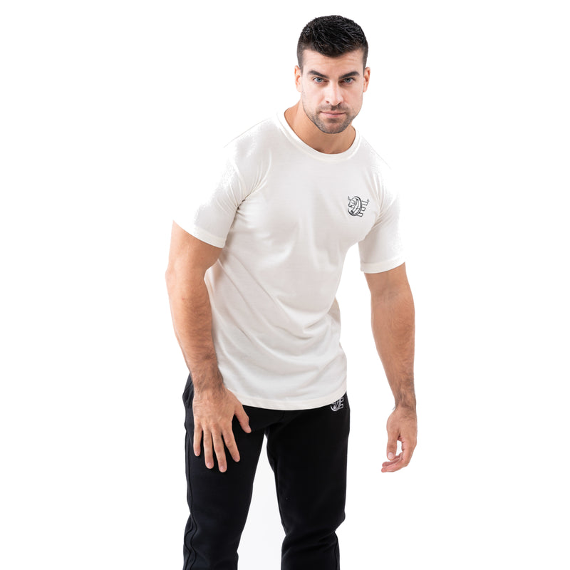Estremo Fitness Flex-Knit Crew Neck Tees - White - Estremo Fitness
