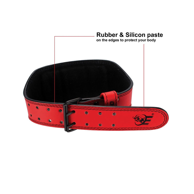 "Genuine Leather Weightlifting Belt 4"" Wide Red - Estremo Fitness"