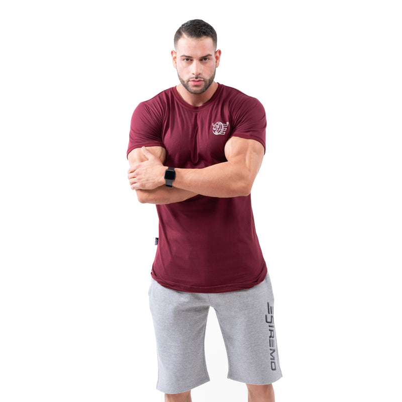 Estremo Fitness Flex-Knit Crew Neck Tees - Burgundy - Estremo Fitness