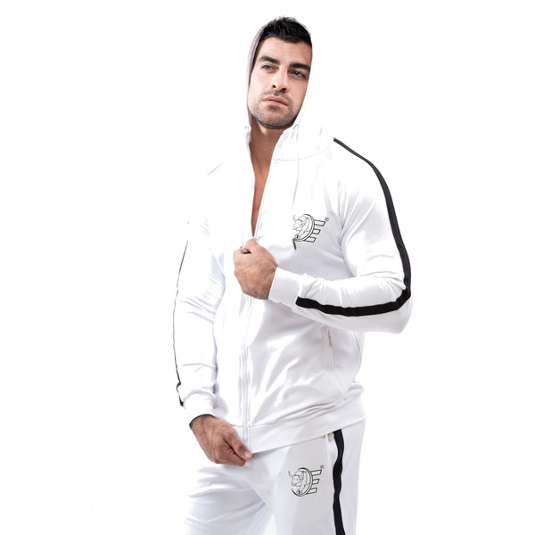 Tracksuit Set-Hooded Slim Jackets & Joggers w / Zippered Pockets - White - Estremo Fitness