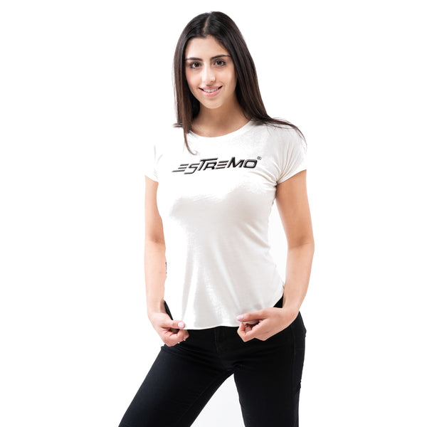 Premium Series Women's Crew Neck Tees - White - Estremo Fitness