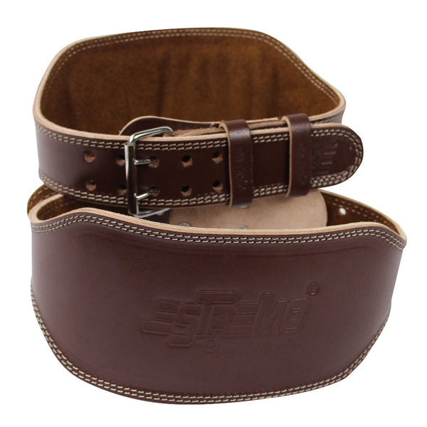 "Genuine Leather Weightlifting Belt 6"" Wide - Brown - Estremo Fitness"
