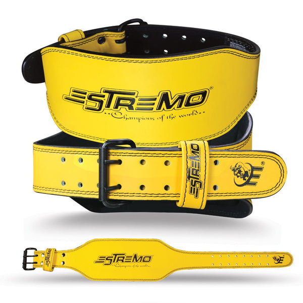 "Genuine Leather Weightlifting Belt 6"" Wide - Yellow - Estremo Fitness"