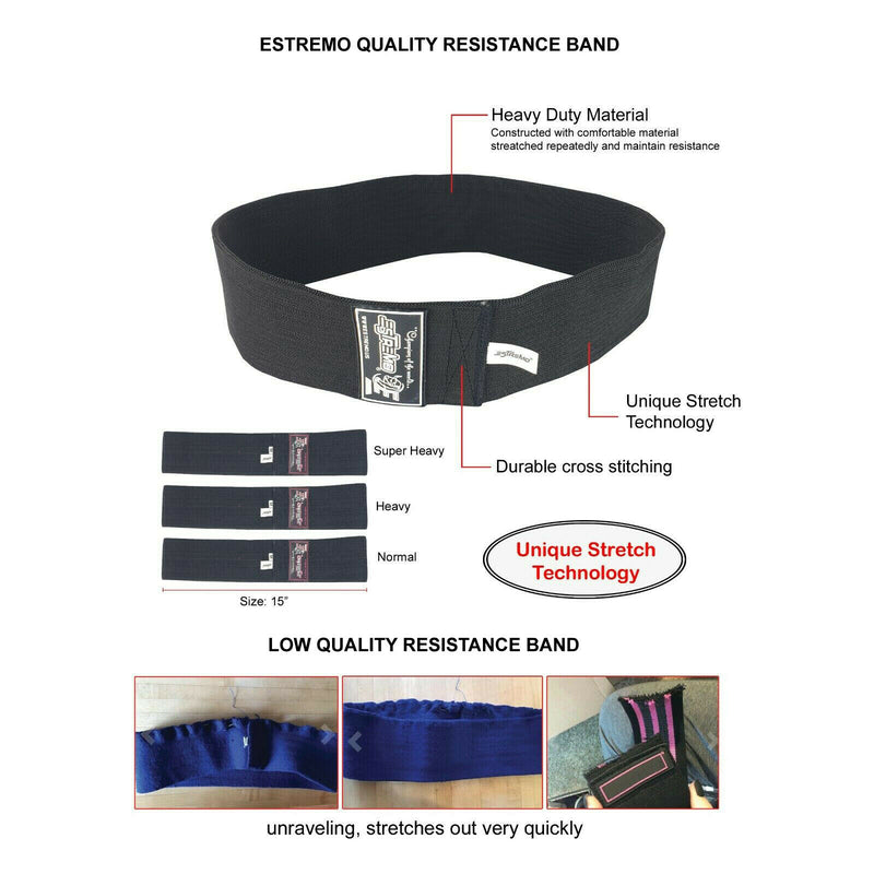 Non-Slip Hip Exercise Resistance Bands - Black - Estremo Fitness