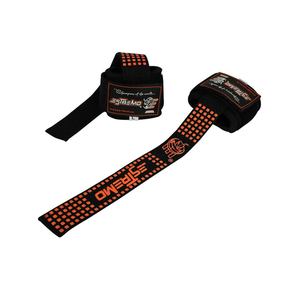 Wrist Support Bar Lifting Straps - Orange - Estremo Fitness