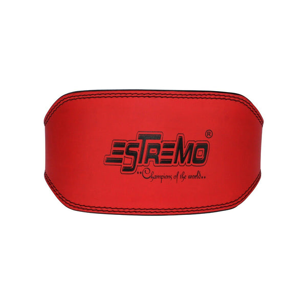 "Genuine Leather Weightlifting Belt 6"" Wide - Red - Estremo Fitness"