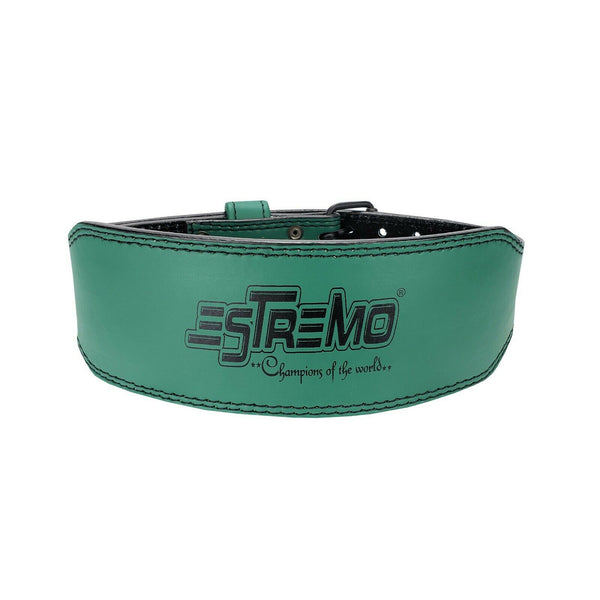 "Genuine Leather Weightlifting Belt 4"" Wide Green - Estremo Fitness"