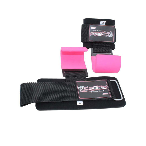 Heavy Duty Weightlifting Hooks - Pink - Estremo Fitness