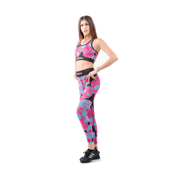 Patterned Series Premium Sports bra & Legging set - Purple - Estremo Fitness