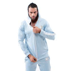Tracksuit Set-Hooded Slim Jackets & Joggers w / Zippered Pockets - Sky Blue - Estremo Fitness