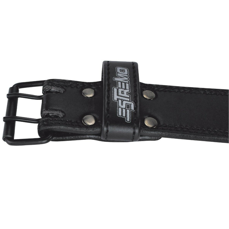 "Genuine Leather Weightlifting Belt 4"" Wide Black - Estremo Fitness"