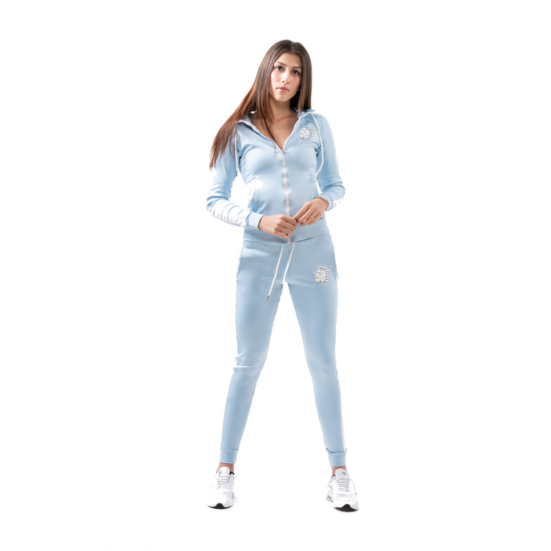 Poly-Span Series Women's Jacket & Jogger Set - Sky Blue - Estremo Fitness