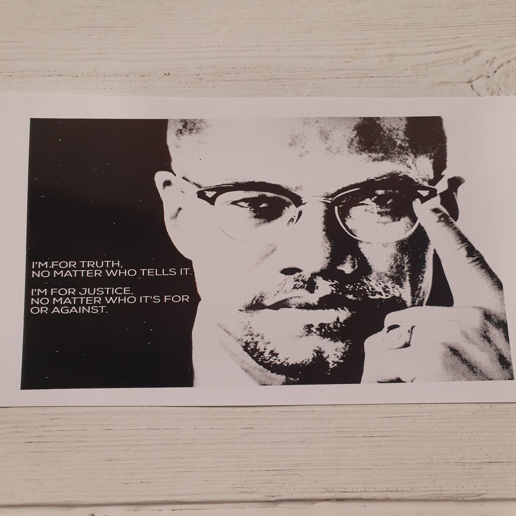 Malcom X Quote and Portrait Print