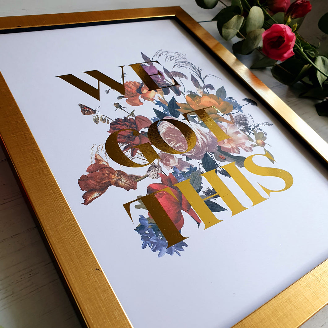 Create Your Own Colour Floral Text Print