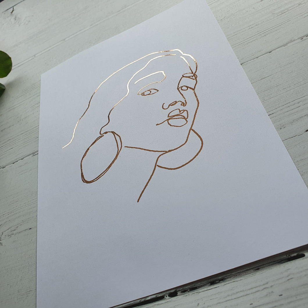 Female Facial Line Art Print