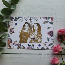 Load image into Gallery viewer, Bespoke Portrait Print with Floral background (1- 2 People)