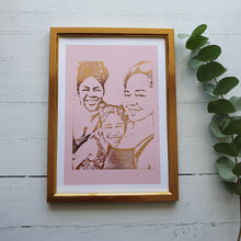 Load image into Gallery viewer, Personalised Portrait Print with Colour background (3-4 People)