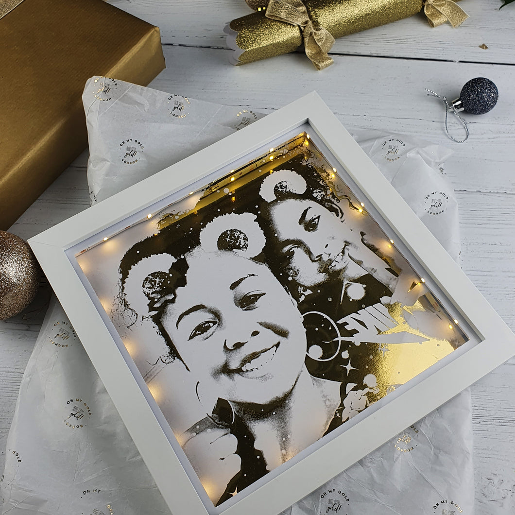 Foiled 8in x 8in Photo Portrait in Light Up Box Frame