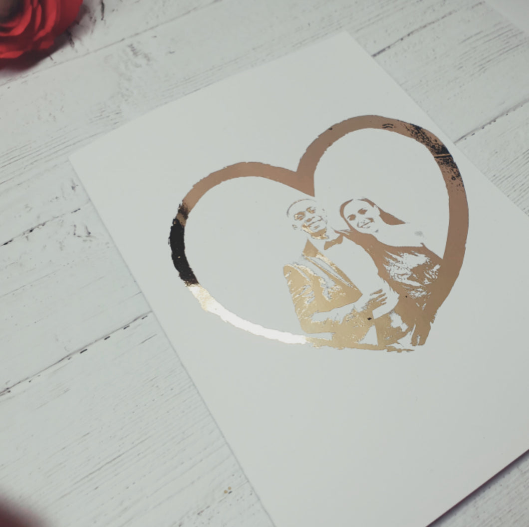 Bespoke Foiled Heart Portrait Card