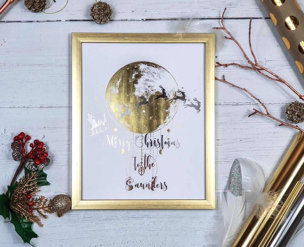 Santa and Reindeer Over The Moon Two Foil Print with Message
