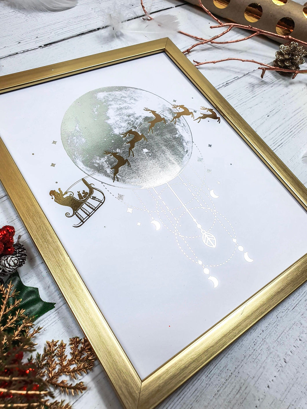 Santa and Reindeer Over The Moon Two Foil Print