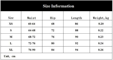 Flex leggings size chart