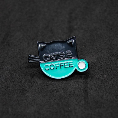 Pin cats and coffee cup