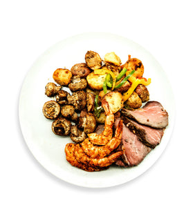 Shrimp and Flank Steak with Roasted Potatoes