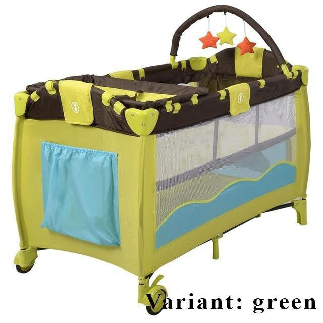 New Baby Crib Playpen Playard Pack Travel Infant Bassinet Bed Foldable Pink Green Coffee Bule  BB4397 - www.inoutcool.com