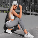Dulzura flash reflective jogger pants 2018 autumn winter women casual gray solid streetwear trousers - InOutCool