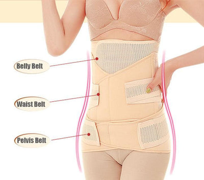 3in1 Belly/Abdomen/Pelvis Postpartum Belt Body Recovery Shapewear Belly Slim Waist Cinchers Breathable Waist Trainer Corset - InOutCool