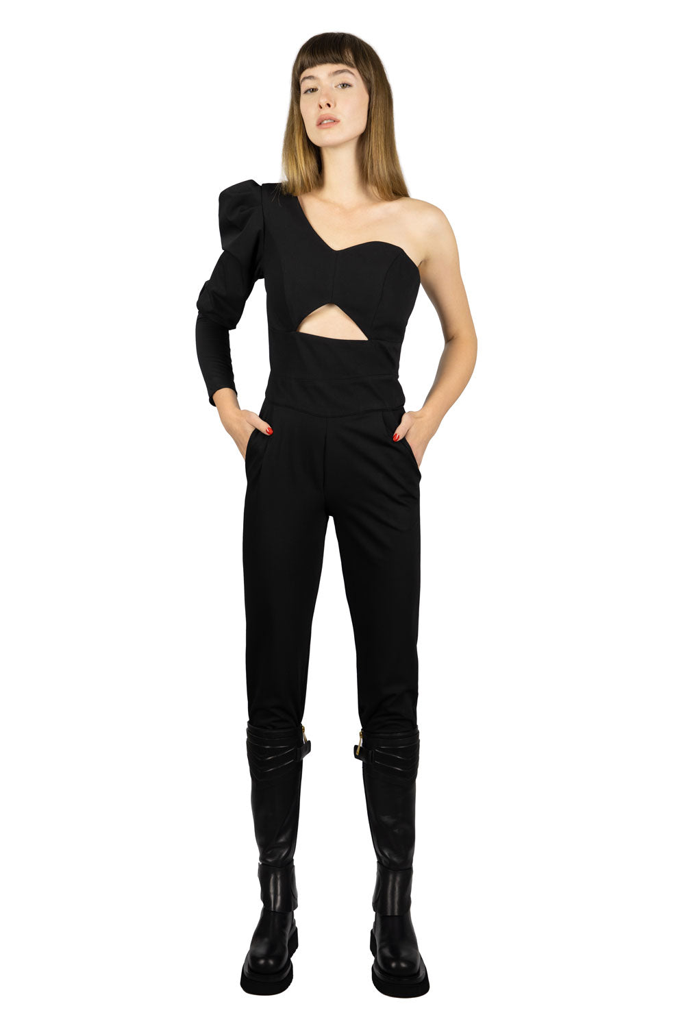 PUFFED SHOULDER JUMPSUIT