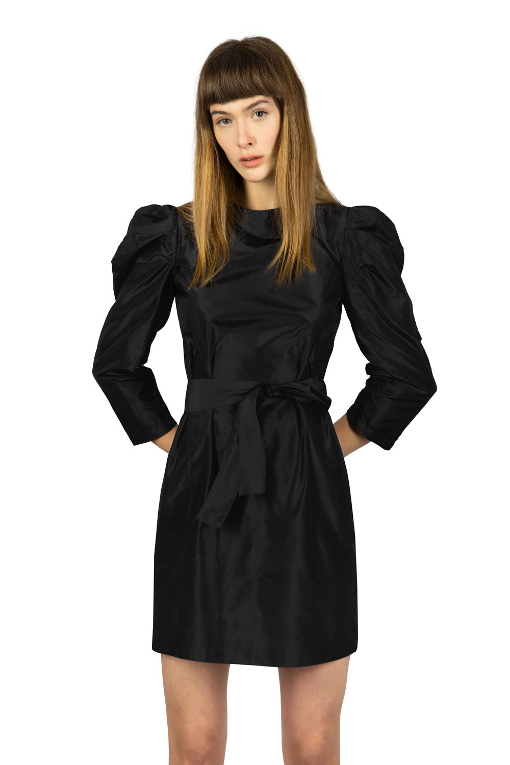 PUFFED SLEEVES SILK TAFFETA SHORT DRESS